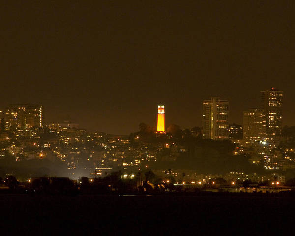 San Francisco Poster featuring the photograph Coit Tower In The Giant's Team Color by Scott Lenhart