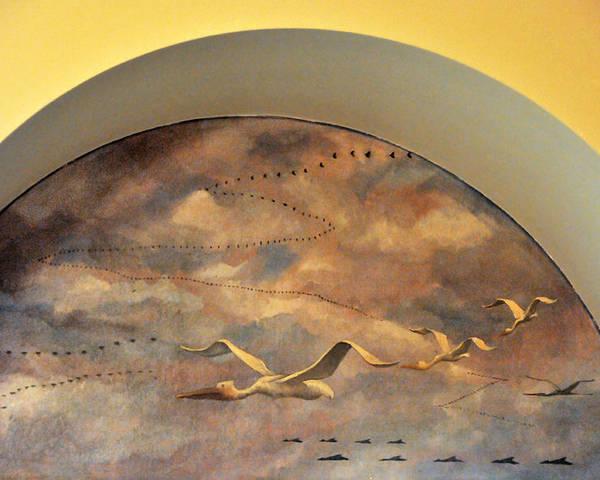 Coit Tower Poster featuring the photograph Coit Tower Mural Of Birds In Flight by Scott Lenhart