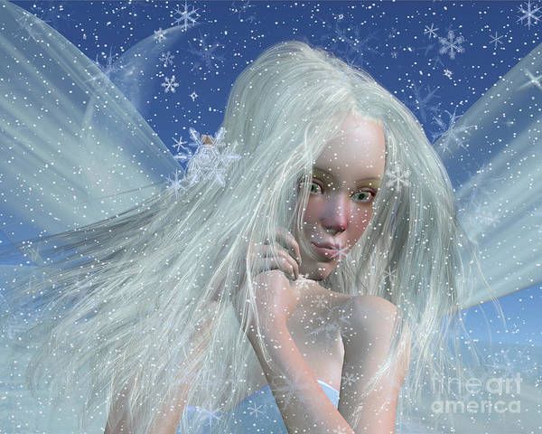 Fairy Poster featuring the digital art Cold Winter Fairy Portrait by Fairy Fantasies