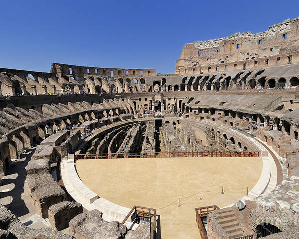 Built Structure Poster featuring the photograph Coliseum . Rome by Bernard Jaubert