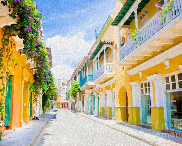 Cartagena Poster featuring the digital art Colonial Street - Cartagena De Indias by Kenneth Montgomery