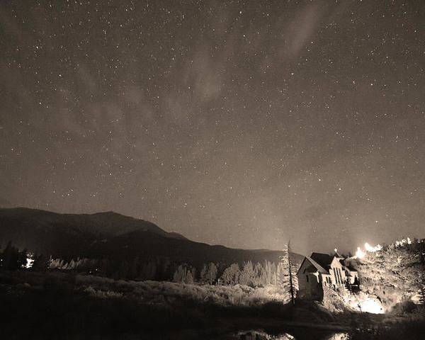 Chapel On The Rock Poster featuring the photograph Colorado Chapel On The Rock Dreamy Night Sepia Sky by James BO Insogna