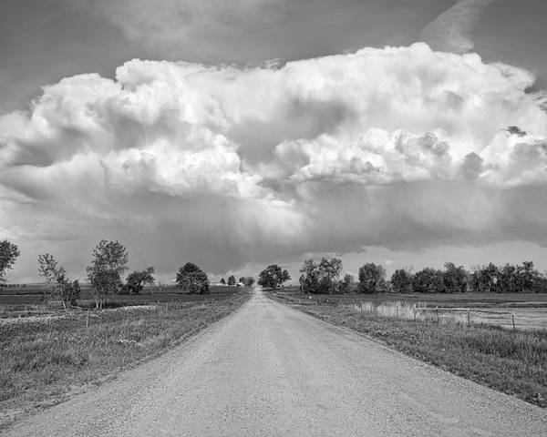 Road Poster featuring the photograph Colorado Country Road Stormin Bw Skies by James BO Insogna