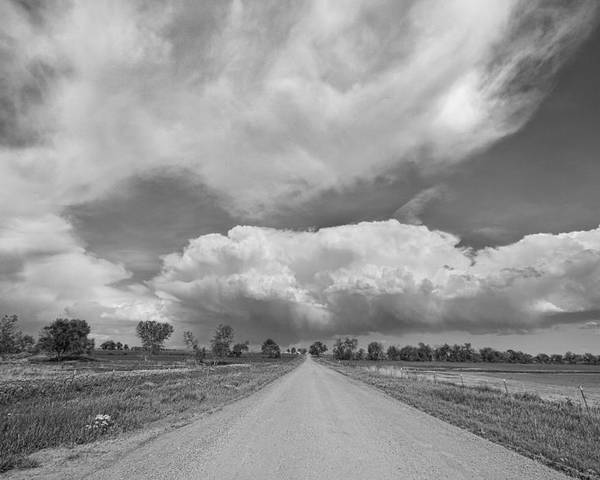 Road Poster featuring the photograph Colorado Country Road Stormin Skies Bw by James BO Insogna