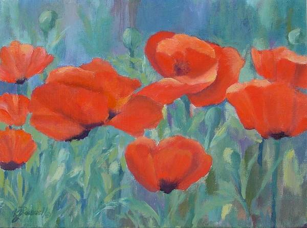 Red Poppies Poster featuring the painting Colorful Flowers Red Poppies Beautiful Floral Art by K Joann Russell