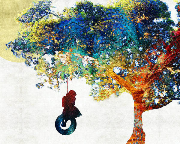 Tree Poster featuring the painting Colorful Landscape Art - The Dreaming Tree - By Sharon Cummings by Sharon Cummings
