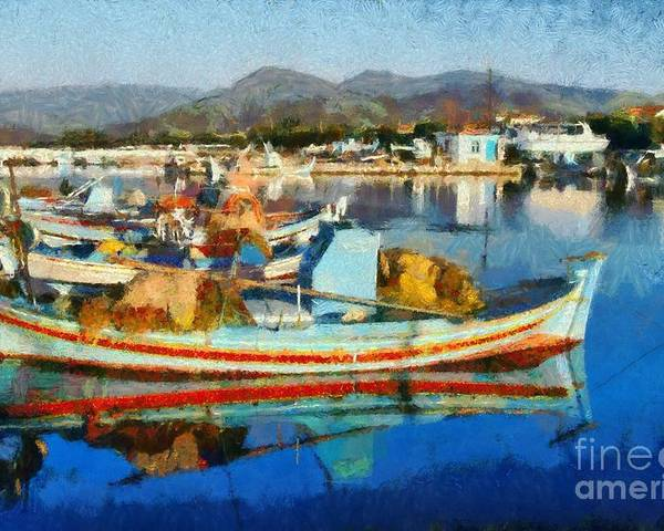Lesvos; Lesbos; Skala Kallonis; Kalloni; Village; Port; Harbor; Islands; Boat; Boats; Fishing; Sea; Island; Greece; Hellas; Greek; Hellenic; Aegean; Summer; Holidays; Vacation; Tourism; Touristic; Travel; Trip; Voyage; Journey; Reflection; Reflections; Color; Colour; Colorful; Colourful; Paint; Painting; Paintings Poster featuring the painting Colorful Boats by George Atsametakis