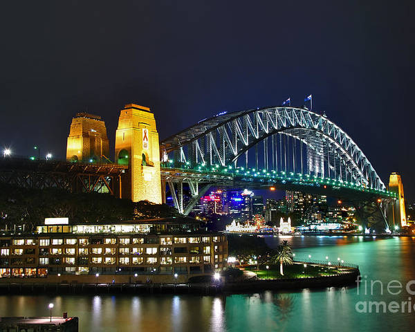Photography Poster featuring the photograph Colorful Sydney Harbour Bridge By Night by Kaye Menner