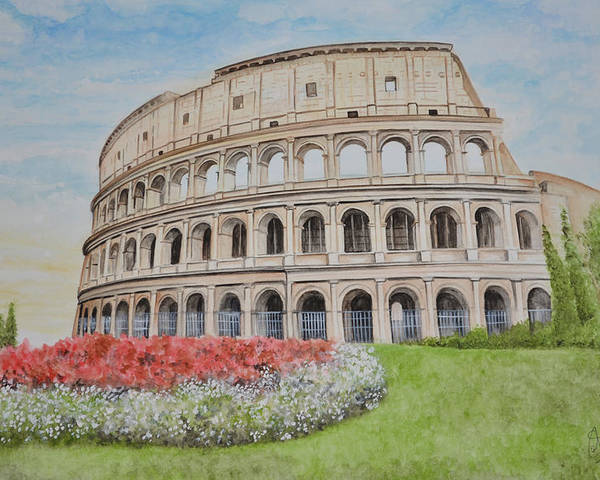 Colosseum Poster featuring the painting Colosseum by Swati Singh