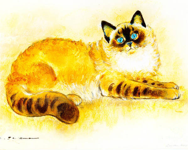 Colourpoint Poster featuring the painting Colourpoint Cat by Kurt Tessmann