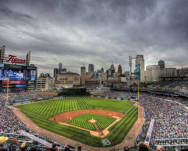 Detroit Tigers Poster featuring the photograph Comerica Park Home of the Tigers by Shawn Everhart