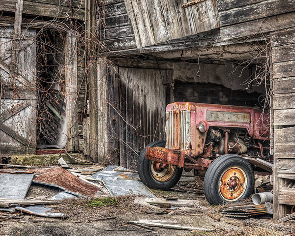 Tractor Poster featuring the photograph Comfortable Chaos - Old Tractor At Rest - Agricultural Machinary - Old Barn by Gary Heller