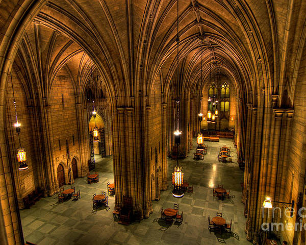 Allegheny County Poster featuring the photograph Commons Room Cathedral Of Learning University Of Pittsburgh by Amy Cicconi