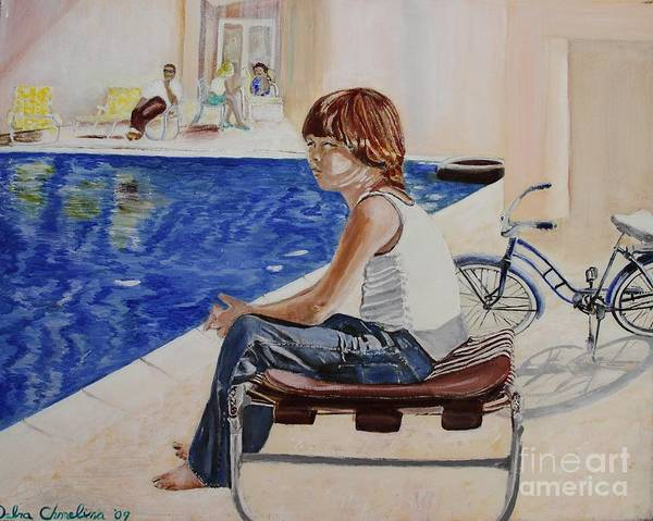 Boy Poster featuring the painting Community Pool by Debra Chmelina