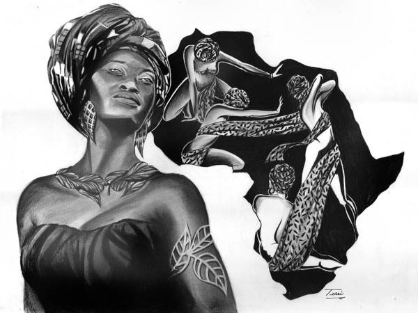 Africa Poster featuring the drawing Composure by Terri Meredith