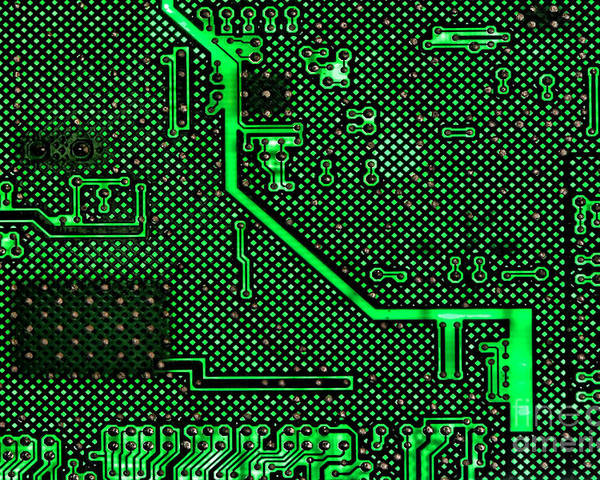 Computer Poster featuring the photograph Computer Circuit Board by Olivier Le Queinec