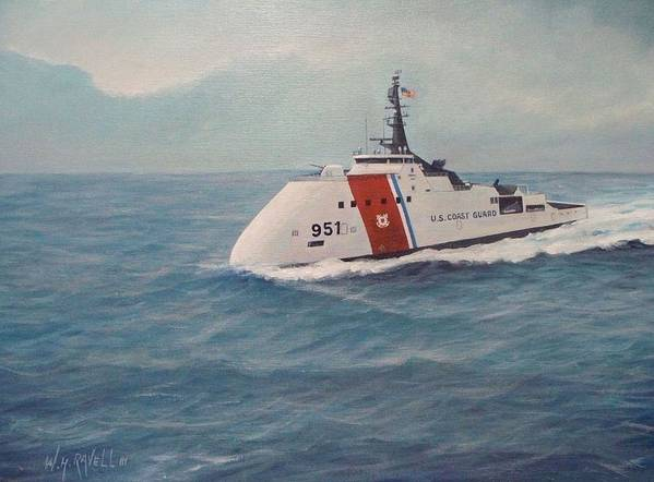 U. S . Coast Guard Poster featuring the painting Concept design for Off Shore U. S. Coast Guar Cutter by William Ravell