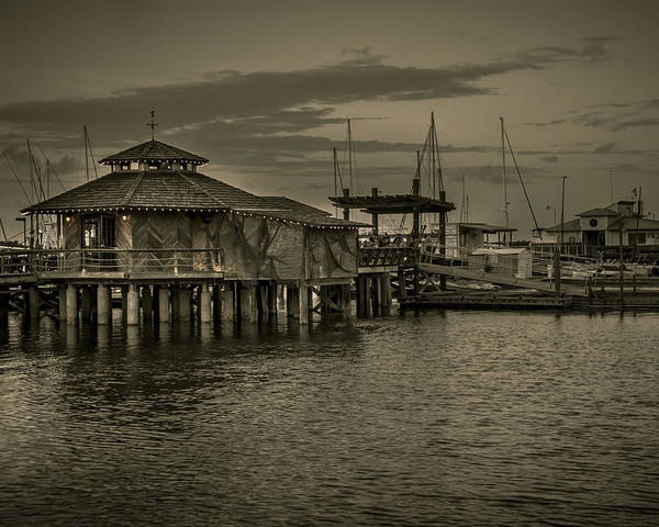 B&w Poster featuring the photograph Conch House Marina by Mario Celzner
