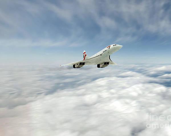 Concorde Poster featuring the digital art Concorde Legend by J Biggadike