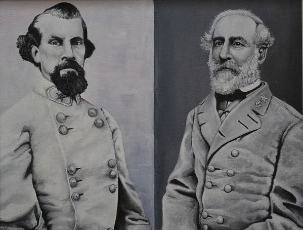 A Black And White Portrait Of Gen. Robert E. Lee And Gen. Bedford Forest. Poster featuring the painting Gen. Robert Lee And Gen. Bedford Forest by Martin Schmidt