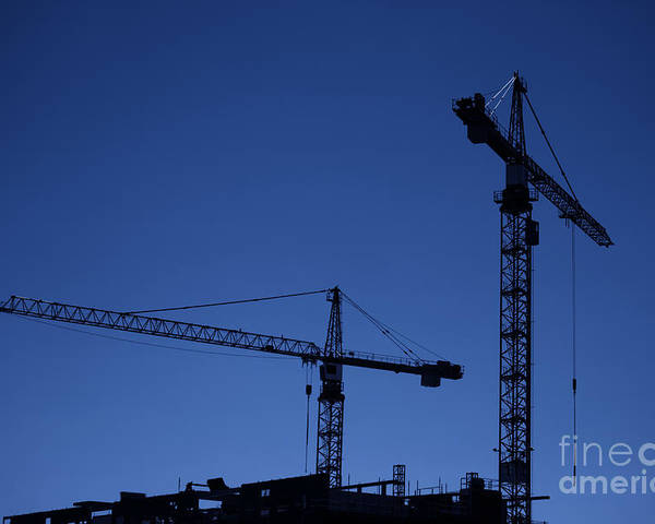 Construction Poster featuring the photograph Construction Cranes At Dusk by Antony McAulay