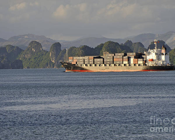 Industry Poster featuring the photograph Container Ship In Halong Bay by Sami Sarkis