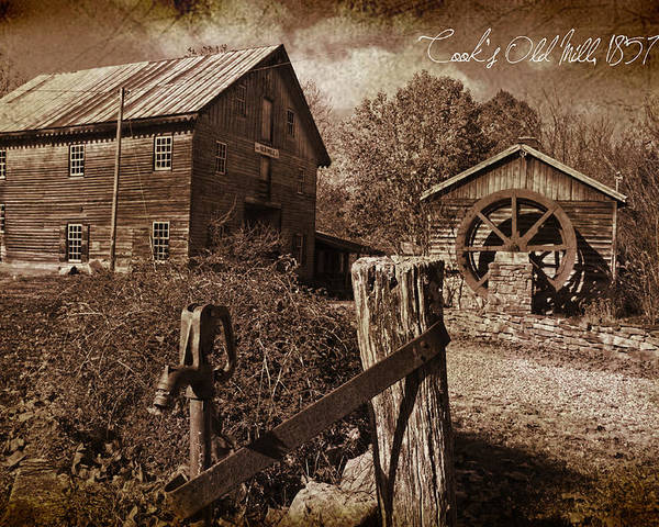 Mill Poster featuring the photograph Cook's Old Mill 1857 by Regina Williams