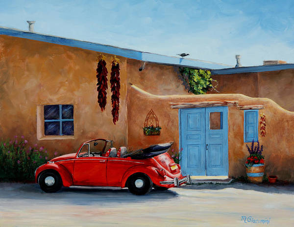 Adobe Poster featuring the painting Cool Ride by Mary Giacomini