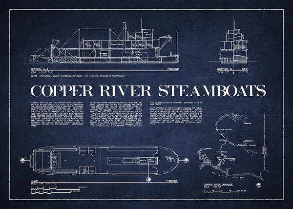 Copper River Poster featuring the digital art Copper River Steamboats Blueprint by Aged Pixel