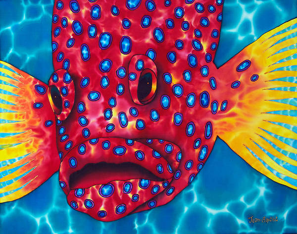 Grouper Painting Poster featuring the painting Coral Grouper by Daniel Jean-Baptiste