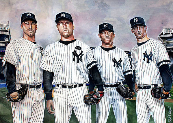 Core 4 Yankees Poster featuring the painting Core 4 Yankees by Michael Pattison