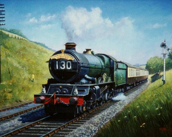 Steam Train\commission A Painting Poster featuring the painting Cornish Riviera To Paddington. by Mike Jeffries