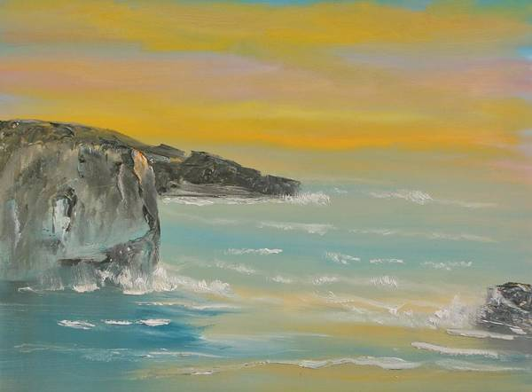 Seascape Poster featuring the painting Cornwall by David Snider