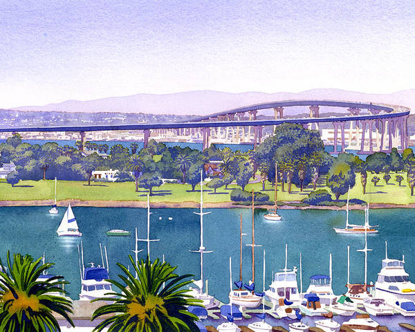 San Diego Poster featuring the painting Coronado Bay Bridge by Mary Helmreich