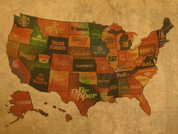 Corporate Poster featuring the mixed media Corporate America Map by Design Turnpike