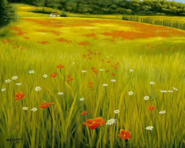 Cortona Poppies Poster featuring the painting Cortona Poppies by Kirk Graham