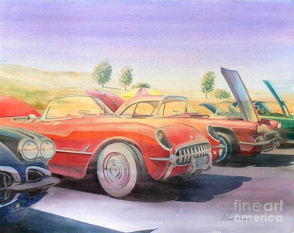Watercolor Poster featuring the painting Corvette Show by Robert Hooper