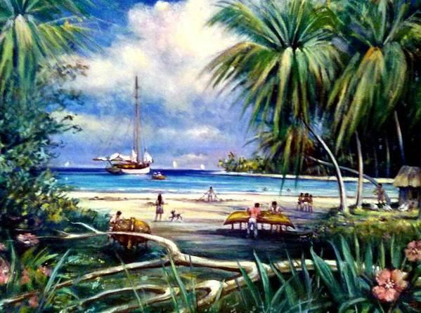 Seascape Costa Rica Poster featuring the painting Costa Rica Sailing by Philip Corley