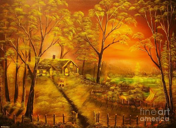 Cottege Poster featuring the painting Cottage By The Lake-original Sold- Buy Giclee Print Nr 32 Of Limited Edition Of 40 Prints by Eddie Michael Beck