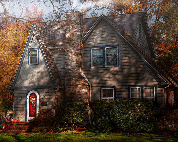 Cottage Poster featuring the photograph Cottage - Cranford Nj - Autumn Cottage by Mike Savad