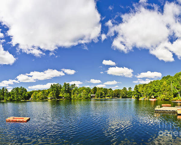 Dock Poster featuring the photograph Cottage Lake With Diving Platform And Dock by Elena Elisseeva