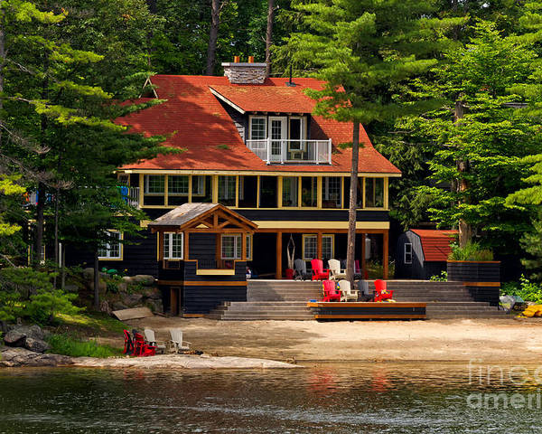 Cottage Poster featuring the photograph Cottage On A Lake by Les Palenik