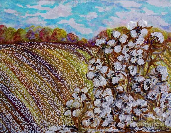 Cotton Poster featuring the painting Cotton Fields In Autumn by Eloise Schneider