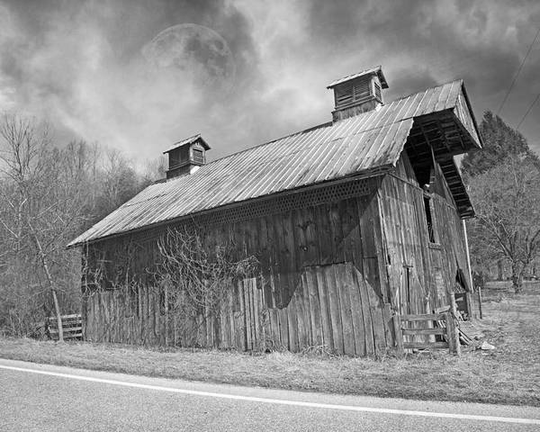 Full Poster featuring the photograph Country Barn Country Moon Country by Betsy Knapp
