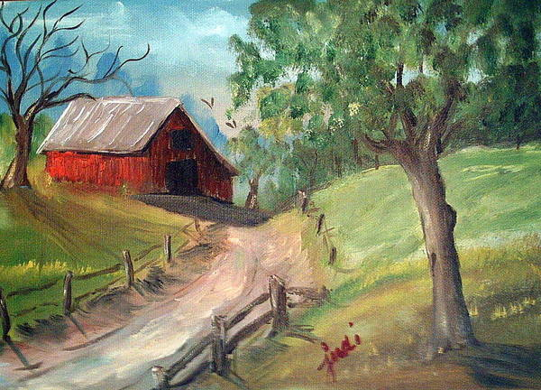 Barn Poster featuring the mixed media Country Barn by Judi Pence