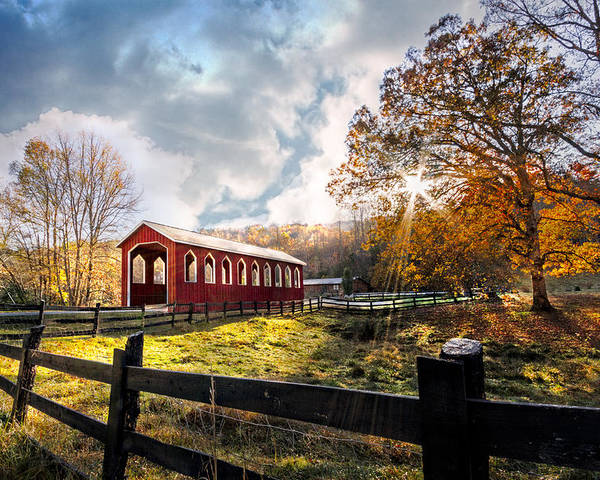 Andrews Poster featuring the photograph Country Covered Bridge by Debra and Dave Vanderlaan