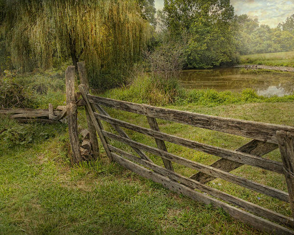 Savad Poster featuring the photograph Country - Gate - Rural Simplicity by Mike Savad