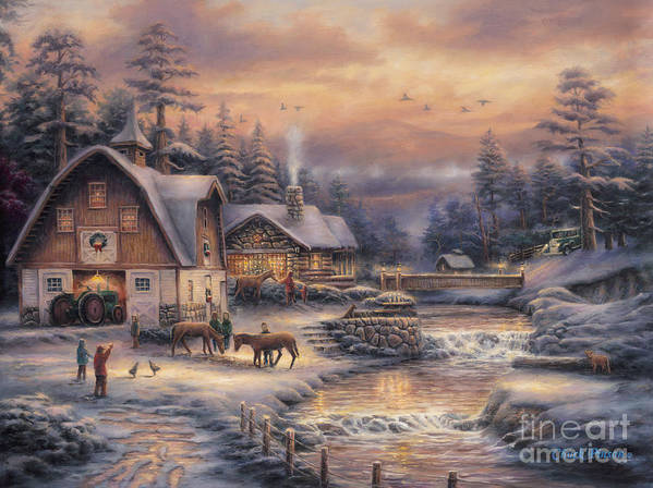 Winter Farm Poster featuring the painting Country Holidays 2 by Chuck Pinson