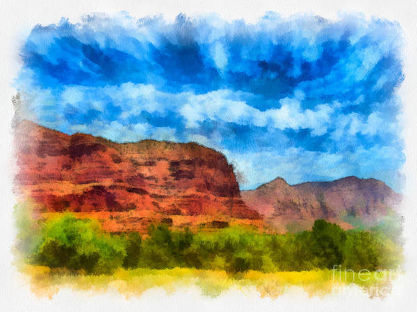 Arid Climate Poster featuring the digital art Courthouse Butte Sedona Arizona by Amy Cicconi