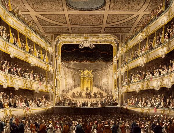 Covent Garden Theatre Poster featuring the drawing Covent Garden Theatre, From Microcosm by T. & Pugin, A.C. Rowlandson